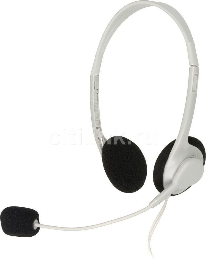 Наушники с микрофоном OKLICK HS-M143VW,  накладные, белый