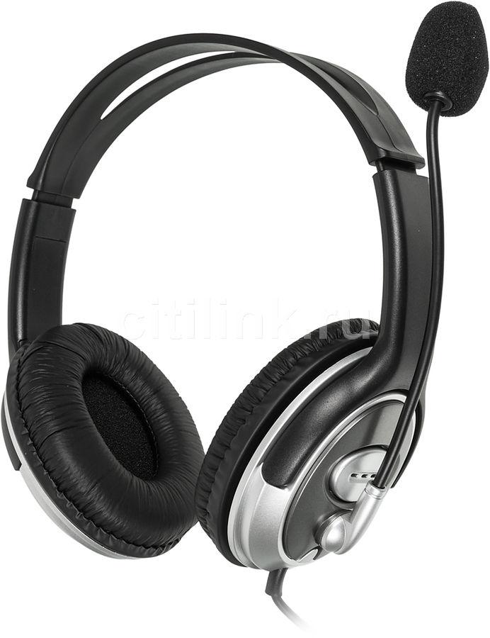 Наушники с микрофоном OKLICK HS-M131V,  накладные, серебристый  / черный
