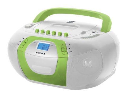 Аудиомагнитола SUPRA BB-CD104,  белый и зеленый