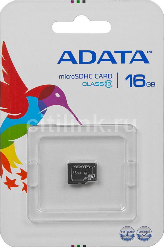 Карта памяти microSDHC A-DATA 16 ГБ, Class 10, AUSDH16GCL10-R,  1 шт.
