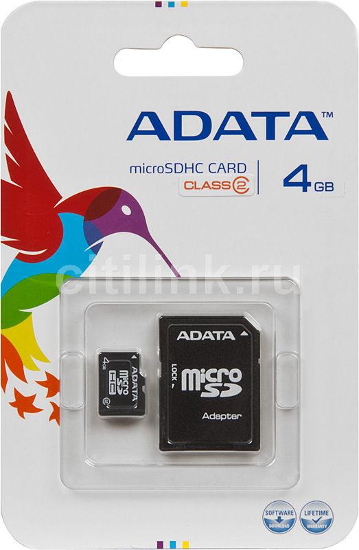Карта памяти microSDHC A-DATA 4 ГБ, Class 2, 1 шт., переходник SD