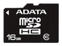 Карта памяти microSDHC A-DATA 16 ГБ, 20 МБ/с, Class 10, 1 шт., переходник SD