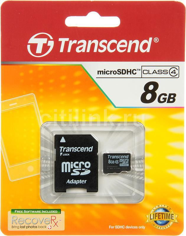 Карта памяти microSDHC TRANSCEND 8 ГБ, Class 4, TS8GUSDHC4,  1 шт., переходник SD