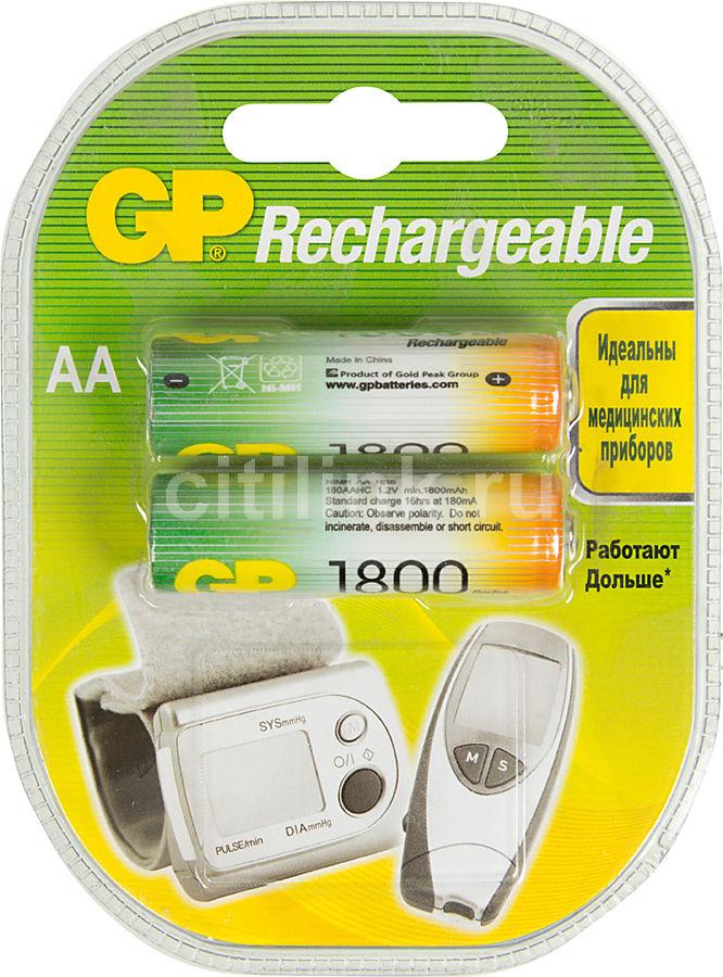 AA Аккумулятор GP 180AAHC,  2 шт. 1800мAч
