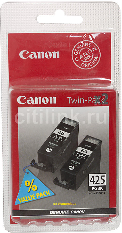 Двойная упаковка картриджей CANON PGI-425PGBK черный [4532b007] pgi 425 cli 425 refillable ink cartridges for canon pgi425 pixma ip4840 mg5140 ip4940 ix6540 mg5240 mg5340 mx714 mx884 mx894