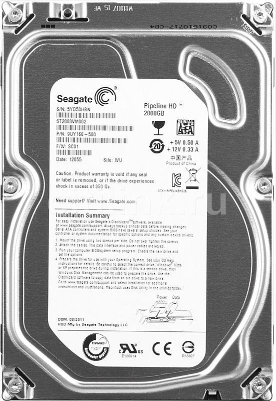 Жесткий диск SEAGATE ST2000VM002,  2Тб,  HDD,  SATA II,  3.5