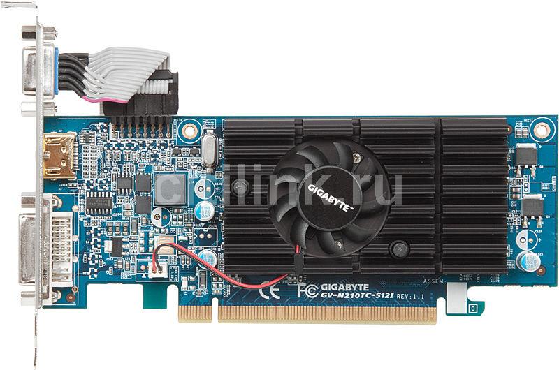 Видеокарта GIGABYTE GeForce 210,  128Мб, DDR3, Low Profile,  Ret [gv-n210tc-512i]