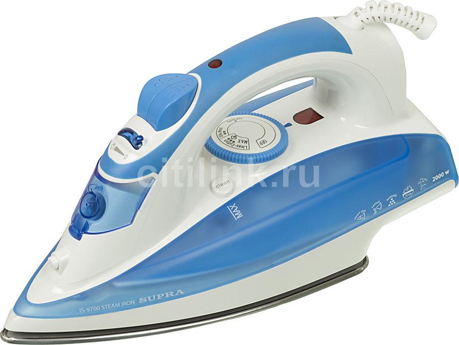 Утюг SUPRA IS-9700,  2000Вт,  синий/ белый [1484]