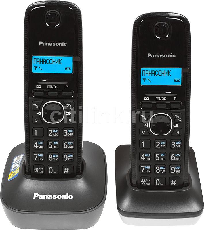 Радиотелефон PANASONIC KX-TG1612RU1,  темно-серый и белый