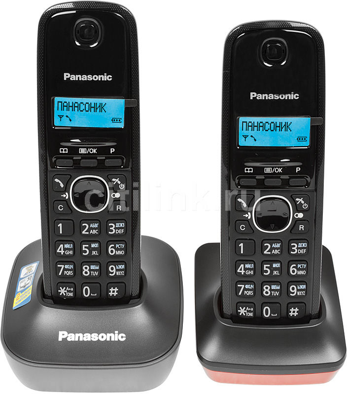 Радиотелефон PANASONIC KX-TG1612RU3,  темно-серый и красный