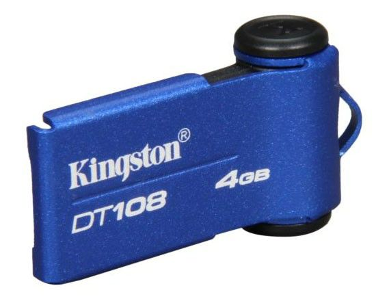 Флешка USB KINGSTON DataTraveler 108 4Гб, USB2.0, синий [dt108/4gbz]