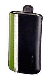 Чехол Hama H-107113 iPhone 4, тонкая кожа, черный/зеленый