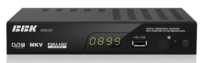 Ресивер DVB-T BBK STB107,  черный