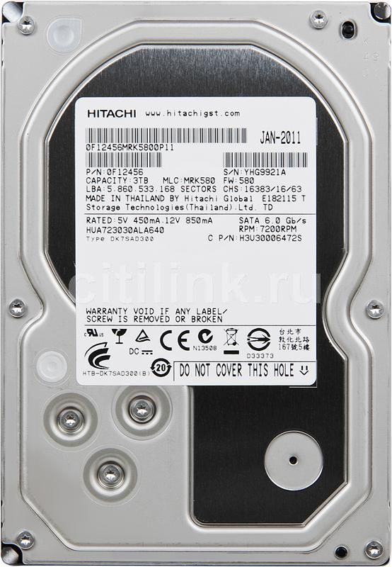 Жесткий диск HITACHI Ultrastar 7K3000 HUA723030ALA640,  3Тб,  HDD,  SATA III,  3.5