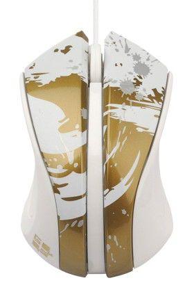 Мышь G-CUBE Paint Splash GLPS-310G оптическая проводная USB, белый и золотой