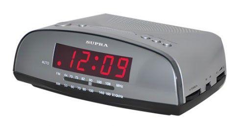 Радиобудильник SUPRA SA-20FM, красная подсветка,  серебристый