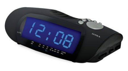 Радиобудильник SUPRA SA-16FM, синяя подсветка,  черный