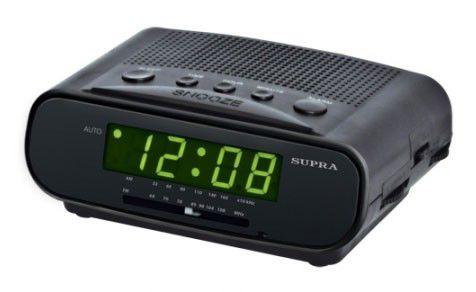 Радиобудильник SUPRA SA-14FM, зеленая подсветка,  черный
