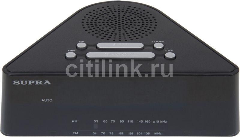 Радиобудильник SUPRA SA-12FM, синяя подсветка,  черный
