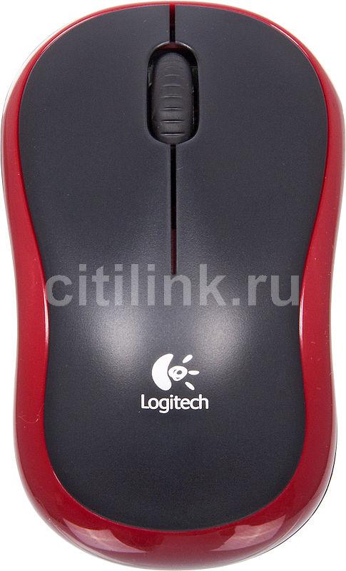 Мышь LOGITECH M185, оптическая, беспроводная, USB, красный [910-002240]