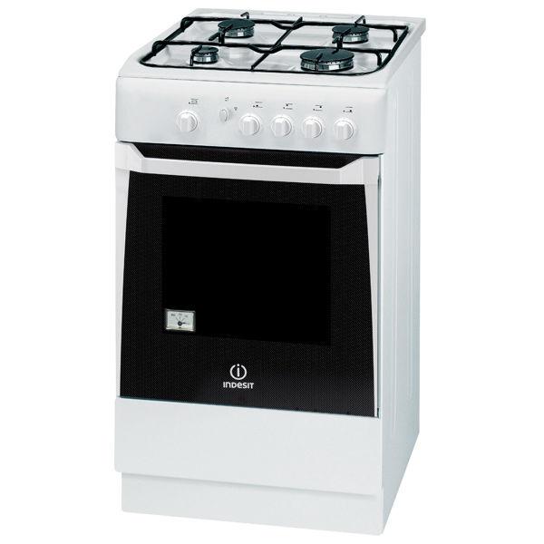 Газовая плита INDESIT KNJ1G27 W/RU,  газовая духовка,  белый