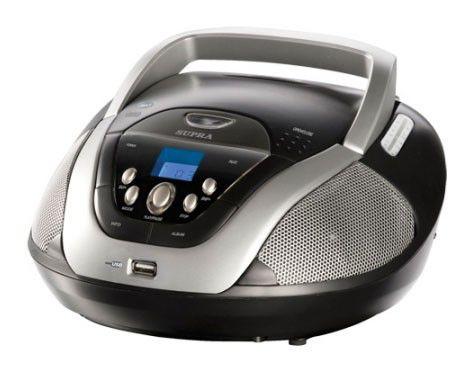 Аудиомагнитола SUPRA BB-CD201RD,  черный и серебристый