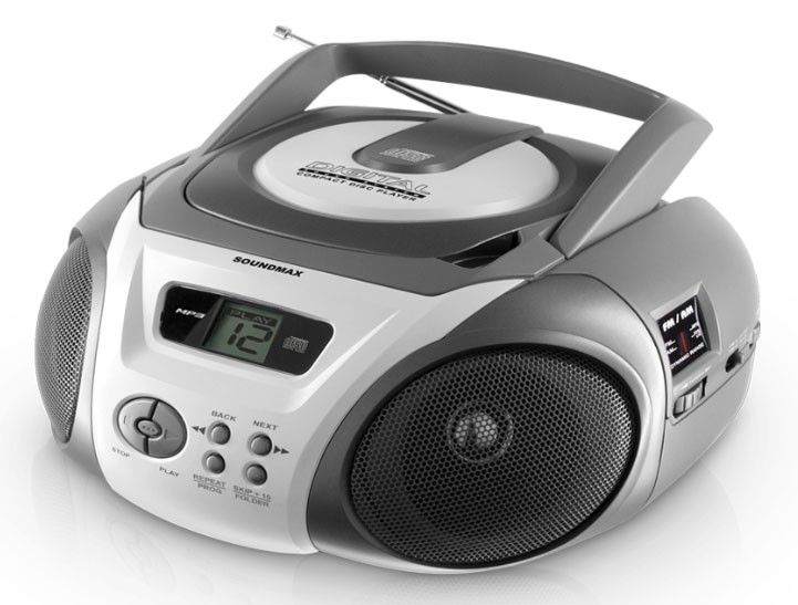 Аудиомагнитола SOUNDMAX SM-2405,  серебристый