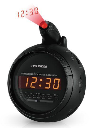 Радиобудильник HYUNDAI H-1525, оранжевая подсветка,  черный