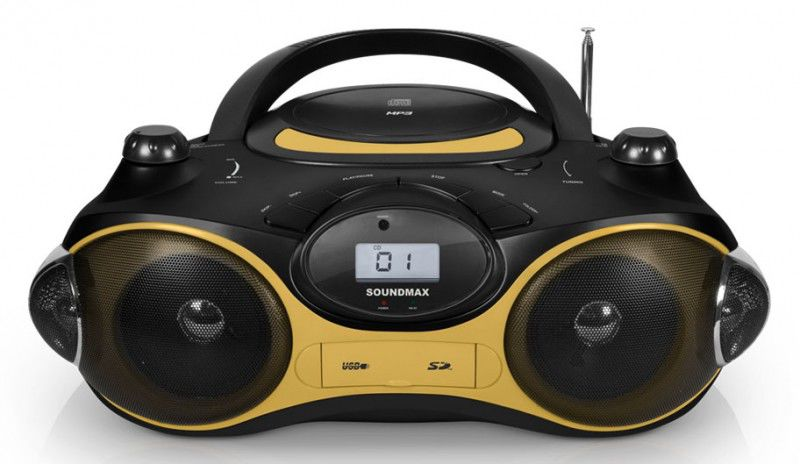 Аудиомагнитола SOUNDMAX SM-2408,  черный и желтый