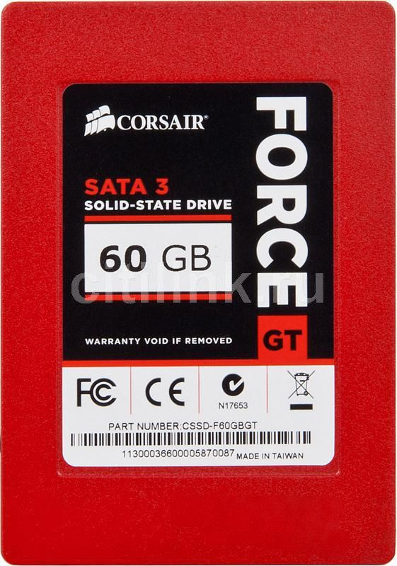 SSD накопитель CORSAIR Force GT CSSD-F60GBGT-BK 60Гб, 2.5