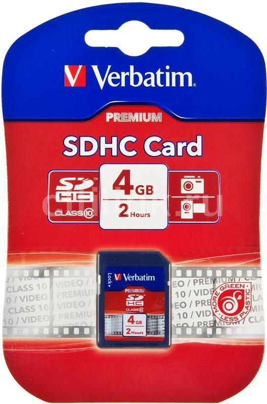 Карта памяти SDHC VERBATIM 4 ГБ, Class 10, 043960-61,  1 шт.