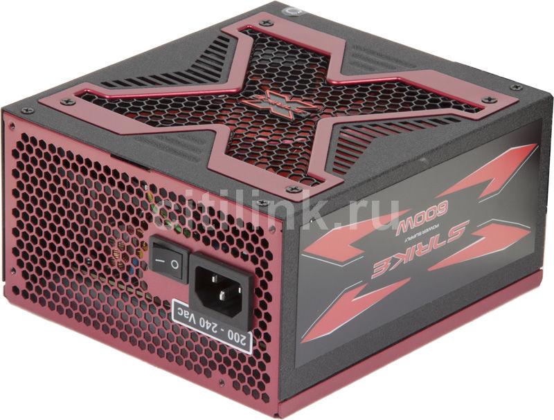 Блок питания AEROCOOL Strike-X 600,  600Вт,  140мм,  красный, retail