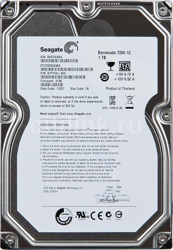 Жесткий диск SEAGATE Barracuda 7200.12 ST31000524AS,  1Тб,  HDD,  SATA III,  3.5""
