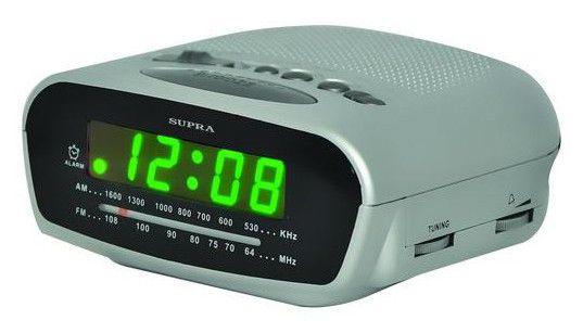 Радиобудильник SUPRA SA-22FM, зеленая подсветка,  серый