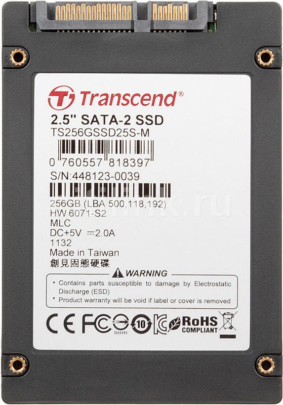 Накопитель SSD TRANSCEND TS256GSSD25S-M 256Гб, 2.5