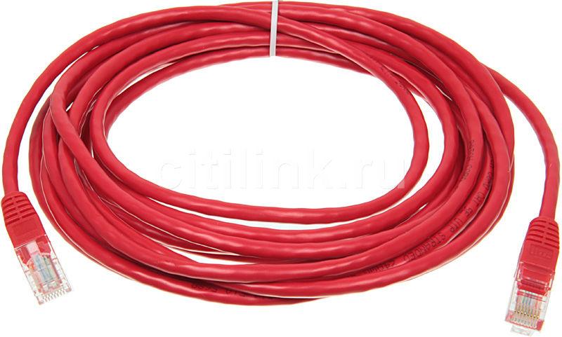 Патч-корд  литой (molded), cat.5E, 5м, 1 шт,  красный