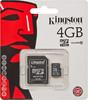 Карта памяти microSDHC KINGSTON 4 ГБ, Class 10, SDC10/4GB,  1 шт., переходник SD вид 1