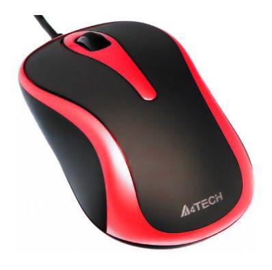 Мышь A4 Q3-350-6 оптическая проводная USB, черный и красный