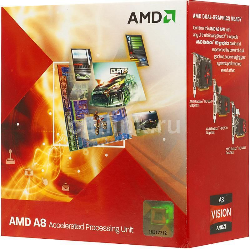 Процессор AMD A8 3850, SocketFM1 BOX [ad3850wngxbox]