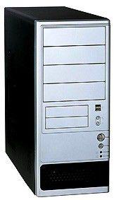 Корпус ATX FOXCONN TLA-490, 400Вт,  черный и серебристый