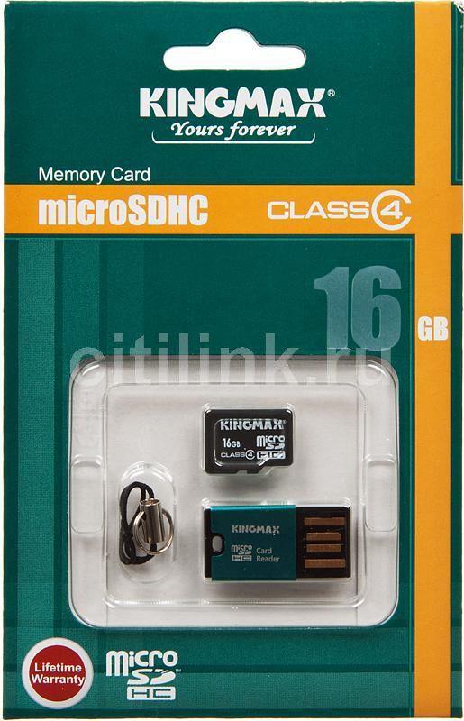 Карта памяти microSDHC KINGMAX 16 ГБ, Class 4, 1 шт.