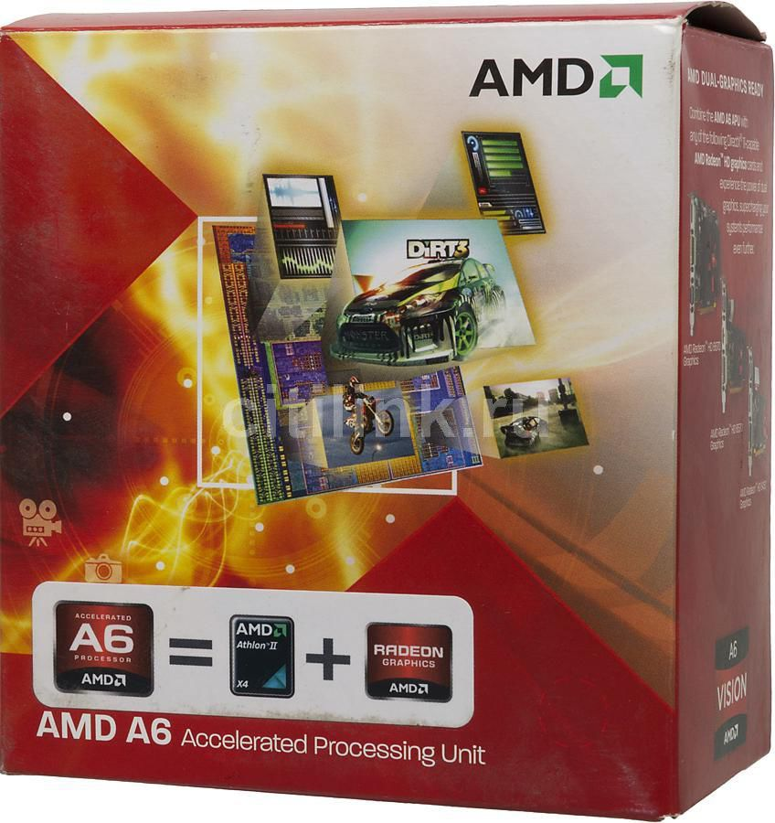 Процессор AMD A6 3500, SocketFM1 BOX [ad3500ojgxbox]