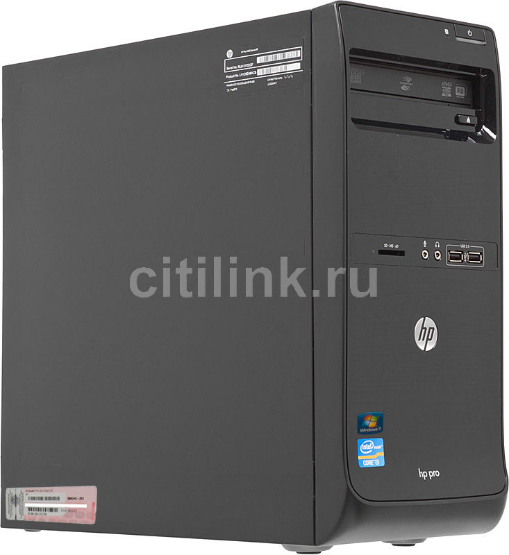 HP Pro 3400,  Intel  Core i3  2120,  DDR3 2Гб, 500Гб,  Intel HD Graphics,  DVD-RW,  CR,  Windows 7 Professional,  черный [lh121ea]