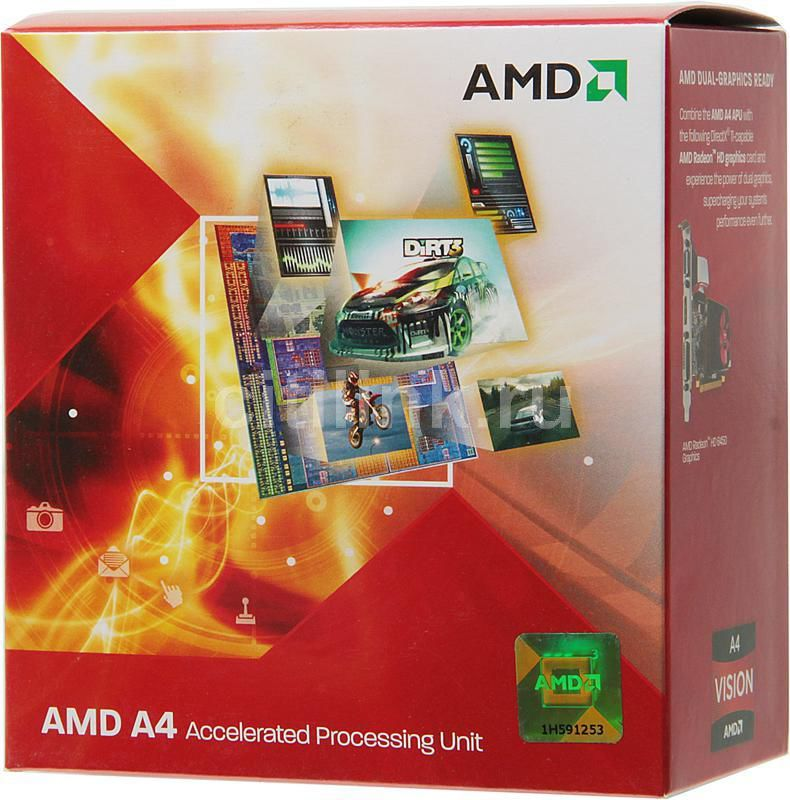 Процессор AMD A4 3300, SocketFM1 BOX [ad3300ojgxbox]