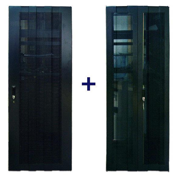Комплект дверей TWT (TWT-CBB-DR42-6x-S-P1) 42U. 600 мм. черный. Передняя, задняя - перфорированные