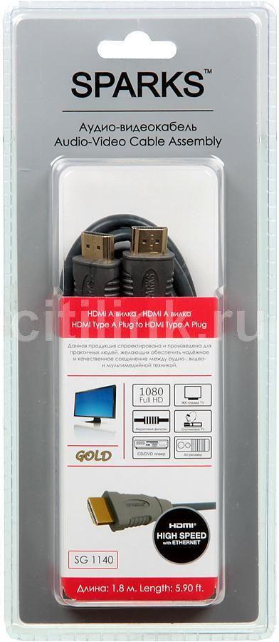 Кабель аудио-видео  Sparks SG1140,  HDMI (m)  -  HDMI (m) ,  1.8м, GOLD ф/фильтр