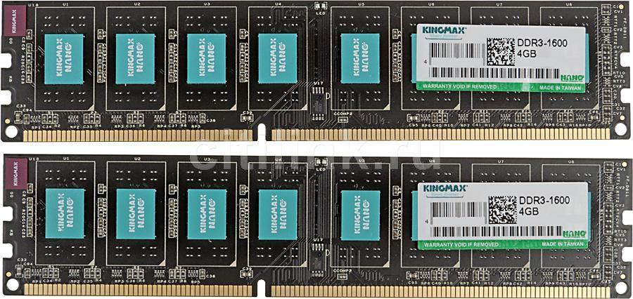 Модуль памяти KINGMAX NANO DDR3 -  2x 4Гб 1600, DIMM,  Ret