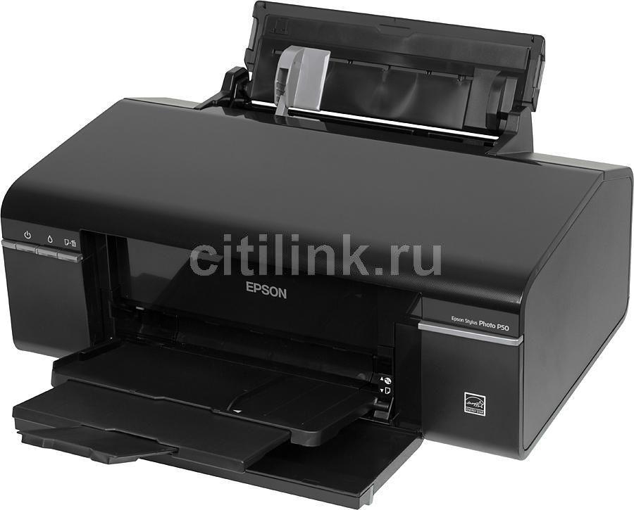 Принтер EPSON Stylus Photo P50,  струйный, цвет: черный [c11ca45341]