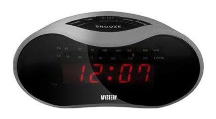 Радиобудильник MYSTERY MCR-33, красная подсветка,  серебристый