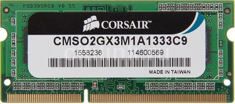 Модуль памяти CORSAIR CMSO2GX3M1A1333C9 DDR3 -  2Гб 1333, SO-DIMM,  Ret